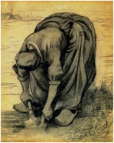 Vincent van Gogh Peasant Woman, Stooping with a Spade, Digging Up Carrots Drawing, Black chalk Nuenen: July, 1885