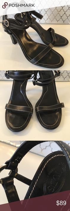⭐️TOD'S STRAPPY HEELS 💯AUTHENTIC TOD'S STRAPPY HEELS 100% AUTHENTIC. SO PRETTY AND STYLISH! ALWAYS ON TREND! TRUE HIGH END LUXURY AND STYLE! THEY ARE BLACK WITH SILVER HARDWARE. THE SIZE IS 7.5 . THE HEEL HEIGHT IS 4 INCHES. HAS HEEL SCUFFS. SUCH ELEGANT SHOES. Tod's Shoes Heels