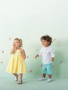 Conjunto 2 prendas vestido de ceremonia + bombacho bebé niña AMARILLO CLARO LISO+BLANCO CLARO LISO