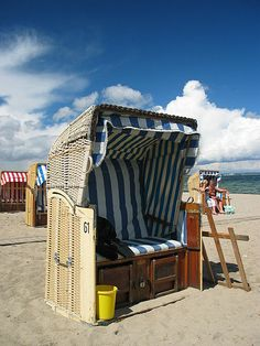 Strandkorb (Beach chair) you rent these on the beach in Germany.  So cool!