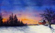 Winter Sunset Painting by Christina Meeusen - Winter Sunset Fine Art Prints and Posters for Sale