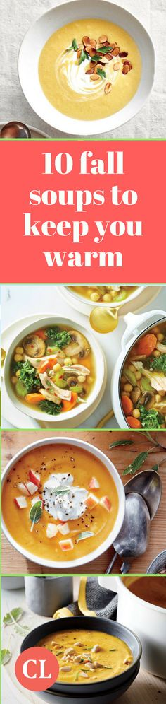 Keep warm this season with these ten comforting soup recipes. Combat the chilly air outside (or inside) the office with seasonal soup ingredients like pumpkin, squash, and sweet potatoes. Cooking Light Recipes, Healthy Cooking, Healthy Recipes, Fall Recipes, Soup Recipes, Pumpkin Squash, Soups And Stews, Slow Cooker, Salads