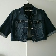 Denim jacket Cute halter demin jacket had long sleeves however I cut them since I couldn't find a short sleeve demin jacket. Never worn. Dollhouse Jackets & Coats Jean Jackets