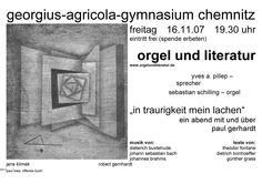 """2007-11-16  Paul Gerhardt """"In Traurigkeit mein Lachen"""" - Orgel und Literatur    www.orgelundliteratur.de"""