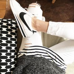 "M E L I S S A B/B L O G G E R on Instagram: ""Black & White outfit with my new Nike Cortez #ootd #Nike #cortez #blackandwhite"""
