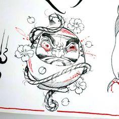 Traditional Japanese Tattoo Flash, Japanese Tattoo Art, Japanese Art, C Tattoo, Tattoo Drawings, Doll Drawing, Painting & Drawing, Tattoo Japonais, Daruma Doll Tattoo