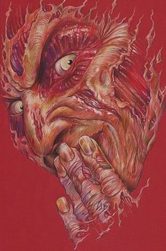 """thebatsblog: """" My newest colored pencil piece: Freddy Krueger! Visit www.zacharyjacksonbrownart.com if you want to see more of my work! """""""