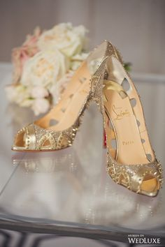 Gold Studded Shoes by: Christian Louboutin. Bride Shoes, Wedding Shoes, Cute Shoes, Me Too Shoes, Laser, Christian Louboutin Shoes, Luxury Shoes, Beautiful Shoes, Shoe Collection