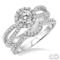 7/8 Ctw Diamond Wedding Set with 3/4 Ctw Round Cut Engagement Ring and 1/6 Ctw Wedding Band in 14K White Gold