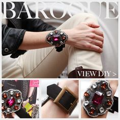 baroque buckle bracelet - add some edge to an outfit with this accessory made from felt, leather, rhinestones, beads, and fabric glue