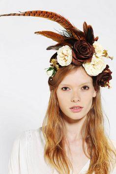 Flower Crown Harvest Flower & Feather Crown by katieburley Floral Headdress, Feather Headpiece, Headpiece Wedding, Crown Hairstyles, Pretty Hairstyles, Flower Crown Wedding, Flower Crowns, Feather Crown, Autumn Bride