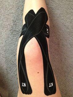 My favorite KT Tape app, full knee, for when I ride.