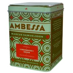 Harney and Sons Green Tea Sachet Ambessa Lingonberry 20 Count
