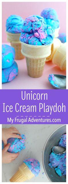 Simple Unicorn Ice Cream Playdoh- fun and simple to make.