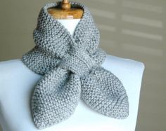 Golden Brown Knit Fox Scarf Novelty Animal Keyhole by PhylPhil