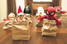 Elves can get up to the darndest things while kids sleep! To keep your racers upright, this blogger suggests putting something in the bottom of the bags (like candy canes!).