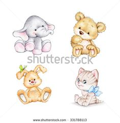 Find Set Animals Elephant Bunny Bear Dog stock images in HD and millions of other royalty-free stock photos, illustrations and vectors in the Shutterstock collection. Thousands of new, high-quality pictures added every day. Baby Animal Drawings, Animal Sketches, Cartoon Drawings, Cute Drawings, Baby Animals, Cute Animals, Bear Drawing, Bunny And Bear, Mama Elephant