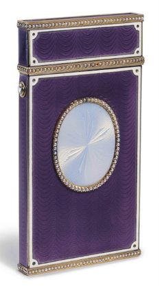 A Jewelled Gold and Guilloché Enamel Card Case   Marked Fabergé, with the workmaster's mark of Michael Perchin, St. Petersburg, 1899-1903, scratched inventory number 8685