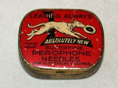 British Perophone dog greyhound gramophone needle tin