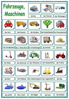 Fahrzeuge, Maschinen - Myth of World German Grammar, German Words, Learn German, Learn English, German Resources, Deutsch Language, Germany Language, We Are Teachers, German Language Learning