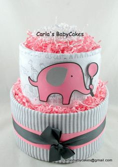 Pink Grey Diaper Cake | Elephant diaper cake | Baby Diaper Cake | Baby Shower Decoration Centerpiece | Baby Shower Gift | New Mom Gift