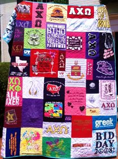 I really like this lady's style of t-shirt quilting, but they're pricey!  www.gotquiltz.com