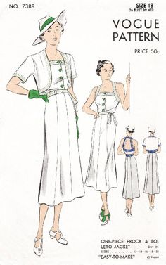 Vogue 7388 sportswear halter dress crop jacket vintage sewing pattern reproduction Source by s Vintage Dress Patterns, Vintage Dresses, Vintage Outfits, Mode Vintage, Vintage Vogue, 1930s Fashion, Vintage Fashion, Mens Fashion, Fashion Goth