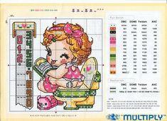 Fabinha Gráficos Para Bordados: Bebês Cute Cross Stitch, Cross Stitch Designs, Cross Stitch Patterns, Christmas Embroidery Patterns, Bebe Baby, Cross Stitching, Baby Dolls, Needlework, Cartoon