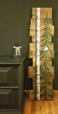 White Birch & Pine tree Reclaimed Wood by TheWhiteBirchStudio