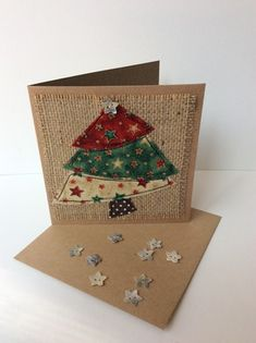 Christmas tree card made with free motion embroidery and raw edge applique…