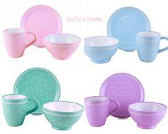 Becher & Tassen - 3Tlg Schale Tasse Teller Tupfen Punkte Handgemacht - ein Designerstück von SofiesHome bei DaWanda