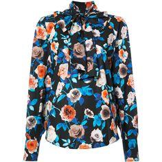MSGM floral pussy bow blouse ❤ liked on Polyvore featuring tops, blouses, msgm top, floral print blouse, floral blouse, bow neck top and msgm