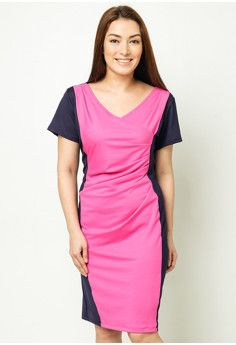 Love Curves Clothing By Jgo Color Block Pleated Sheath Dress #onlineshop #onlineshopping #lazadaphilippines #lazada #zaloraphilippines #zalora