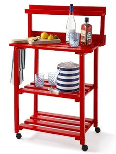 Let a grill cart do double duty as a beverage server. This painted wood one has a spot for towels and a spice rack for setting out garnishes. Prairie Leisure Design Barbecue Buddy, about $264; ATGStores.com