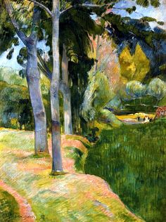The Large Trees. Paul Gauguin, 1889. He's stunning at color combinations here.