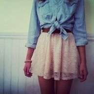 tied cambray shirt with a lace skirt and belt