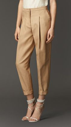 Is there a such thing as a trouser crush? Cos I'm in love with these Burberry Pleat Detail Cotton Silk Trousers