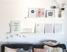 Shelf: Bilder, Tapete, Geschenkpapier, LOVE Schriftzug | Wohnzimmer | rosa grau schwarz weiss kupfer | Einrichtung waseigenes.com