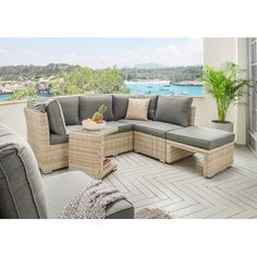 Loungeset Palma Polyrattan 1 Eckmodul 2 Sofa Tisch 90x90 Cm