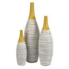 Andean Multi Glaze Vases - 12H in. - Set of 3
