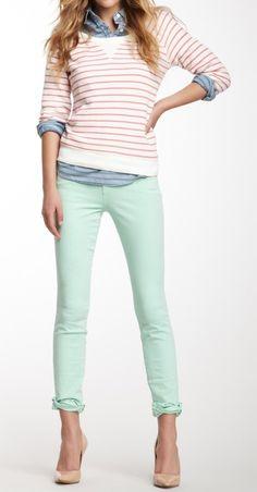 yes you can wear pastels in Fall. chambray,striped sweater and mint skinnies  #ReadyForFall #ahndeamaystylist