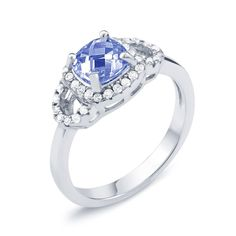Beverly Hills Sterling Silver Sapphire-colored Cubic Zirconia September Cushion-cut Birthstone Ring