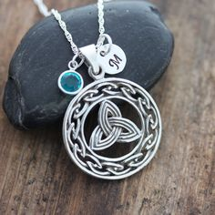 Sterling silver Celtic Knot Necklace, father and daughter celtic Gift, With Birthstone and Initial, Mothers daughter gift. 070 on Etsy, $42.80
