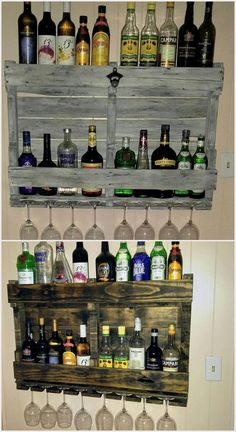 If your house is settled with the wine counter bar, then adding it with the awesome designed piece of wood pallet wine rack is brilliant option. This wine rack is best in usage for placing your wine bottles in one order. It has been further divided into t Wood Pallet Wine Rack, Rustic Wine Racks, Pallet Shelves, Diy Pallet Projects, Wood Projects, Vin Palette, Bar A Vin, Wood Pallet Furniture, Pallet Designs