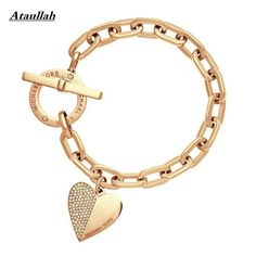3Color New Heart With CZ Diamond Gold Plated Women Bracelets