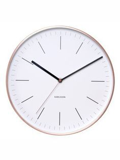 Karlsson Wall Clock KA5507WH Minimal Frame with 5x 27.5x 27.5cm, Metal, White/Copper andlt