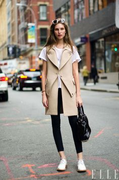 Street Chic Daily: Kelsey Van Mook wears an Alexander Wang vest and bag, Helmut Lang Jeans, and Marc by Marc Jacobs shoes in SoHo.  Photo: Adam Katz Sinding/Le 21ème Arrondissement  Via  Elle Magazine