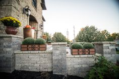 Pittsburgh retaining walls installation by PGHSW uses retaining wall block like Omni Stone and Versa-lok for it's retaining wall construction. Retaining Wall Construction, Stone Pillars, Privacy Walls, Wall Installation, Pittsburgh Pa, Outdoor Living, Outdoor Decor, Landscape Design, Fire