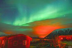 Northern Lights (Aurora Borealis), Andøy Friluftssenter, Andøy, Andøya,Vesterålen, Nordland, Norge (Norway)