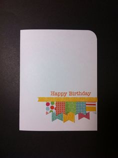 Happy Birthday Banner Card Set - make on Kraft paper, good way to use scraps
